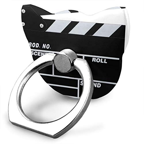 ACHOGI Cat Metal Phone Stands Classic Movie Clapboard Black Printed Finger Ring Stability Holder Phone Accessories Adjustable 360° Rotation for All Smartphones and Tablet ()