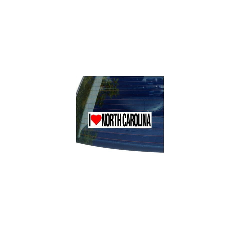 I Love Heart NORTH CAROLINA   Window Bumper Sticker