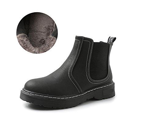 Minotta HB-3 Women's Classic PU Slip On Winter Ankle Boot Fur Lined Black