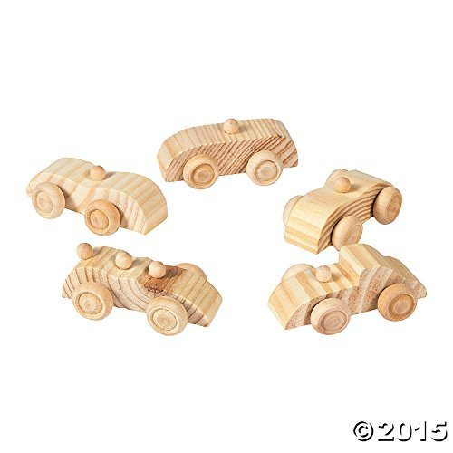 Unpainted Wooden Car Assortment (1 dz) by Fun Express (Race Wood Car)