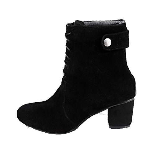 AllhqFashion Womens Kitten-Heels Solid Round Closed Toe Frosted Zipper Boots, Black, 39