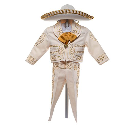 Boys Charro, Boys Cotton Guayabera, Boys Baptism, Charro, Boys, Mexican Wedding Shirt, Guayaberas, Baptism outfit, Mens Charro, Beige Charro (4 Year, Beige) by Details and Traditions