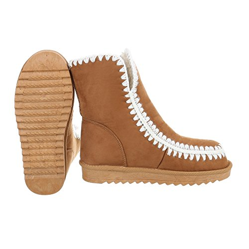 Schuhcity24 Damen Schuhe Stiefeletten Gefütterte Camel