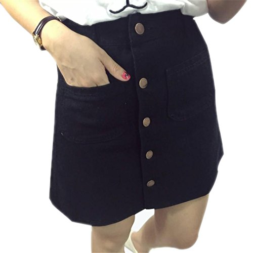 NZDQ Fall Jeans Skirt Thin Single Breast Button Slim Waist Denim Skirts Summer Skirt Women Black M