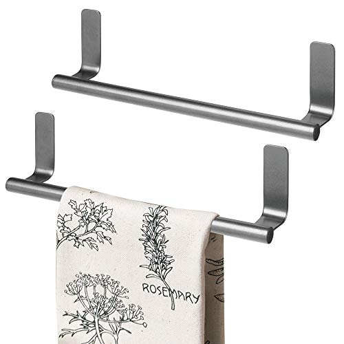 mDesign Decorative Metal Kitchen Self-Adhesive, Wall Mount Towel Bar - Storage and Display Rack for Hand, Dish and Tea Towels - Stick on Inside or Outside of Doors, 9