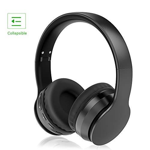 LOBKIN Cuffie Bluetooth 5.0 Senza Fili, Cuffie Over Ear Pieghevole Auricolari con Mic, Lettore MP3, Radio FM, Wireless e Cuffie Cablate, Cuffie Over Ear