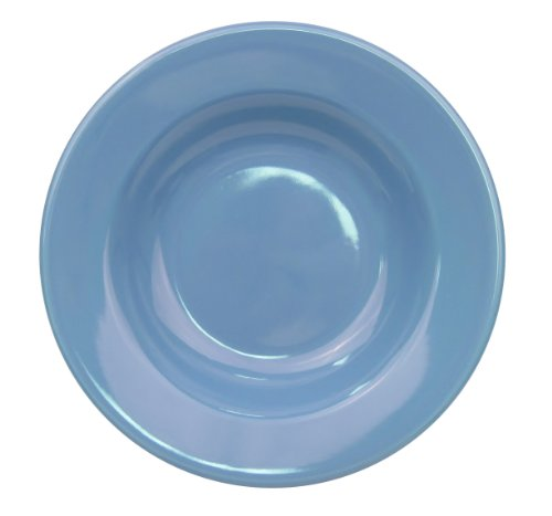 CAC China LV-3-LB 8-3/4-Inch Las Vegas Rolled Edge Stoneware Rimmed Soup Plate, 12-Ounce, Light Blue, Box of 24 by CAC China