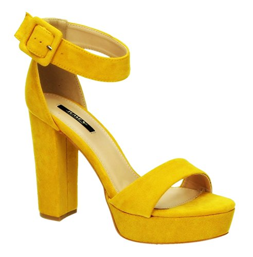 King of Shoes Women's Ankle-Strap Yellow GDSQmm