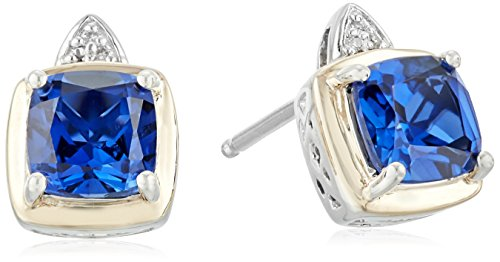sg-sterling-silver-and-14k-yellow-gold-cushion-created-sapphire-with-diamond-accent-stud-earrings