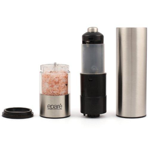 Eparé Salt or Pepper Grinder, Adjustable Ceramic Grinders for Pink Himalayan Sea Salts & Black Peppercorns – Battery Powered Steel Electric Spice Shaker – LED Light