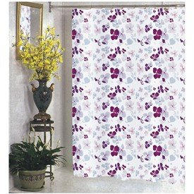 Joanne Fabric Shower Curtain Purple Lilac Pink Maroon Flowers No Hooks Included Brand New