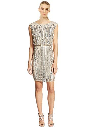 Embellished Blouson (Adrianna Papell Embellished Blouson Cap Sleeve Cocktail Dress)