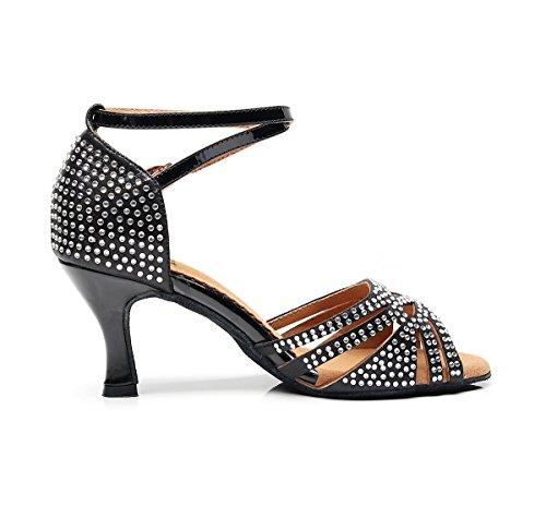 Black de MinishionUS 5cm Danse Heel 7 Femme QJ7152 Minitoo Salon xSnHHf