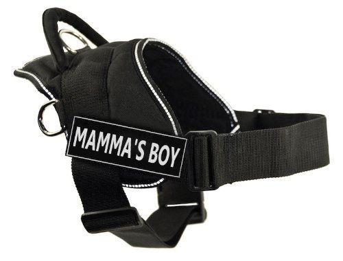 Dean & Tyler Fun Harness, Mamma's Boy, Black with Reflective Trim, XX-Small, Fits Girth Size  18-Inch to 22-Inch