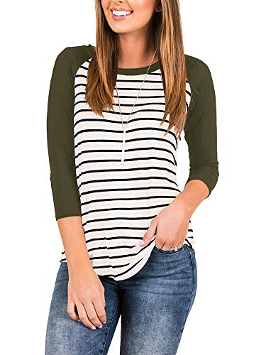 Women's Loose 3/4 Sleeve Raglan Striped T Shirt Round Neck Baseball Tunic Blouse Tops Army Green X-Large
