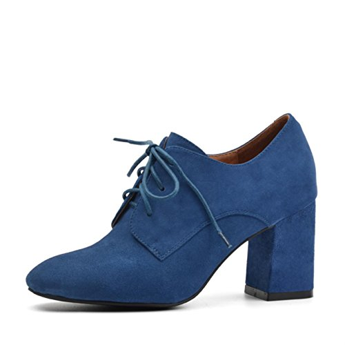Donna-in natural color kid suede ladies shoes classic fashion lace-up high heel women Shoes