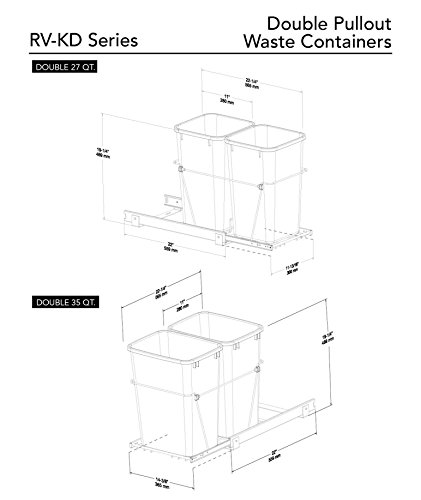 090713818931 - Rev-A-Shelf - RV-15KD-17C S - Double 27 Qt. Pull-Out Silver and Chrome Waste Container carousel main 3