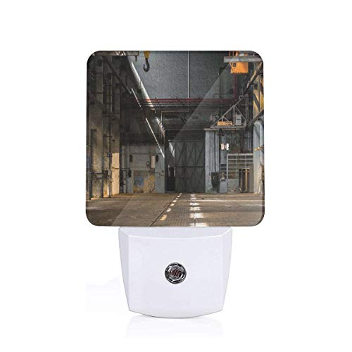 Colorful Plug in Night,Dark Industrial Interior of an Old Building Place of Manufacturing Hangar Print,Auto Sensor LED Dusk to Dawn Night Light Plug in Indoor for Childs Adults