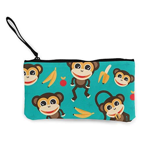 Card Holder Monkey (Yunrgj Monkey Love Banana Men Women Wallet Card Holder Phone Storage Bag Large Capacity Canvas Coin Purse Zip Handbag,Pencil Pen Case)