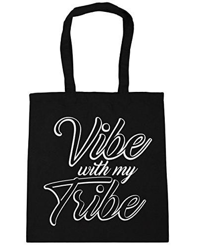 HippoWarehouse Vibe con mi tribu Tote Compras Bolsa de playa 42cm x38cm, 10litros negro