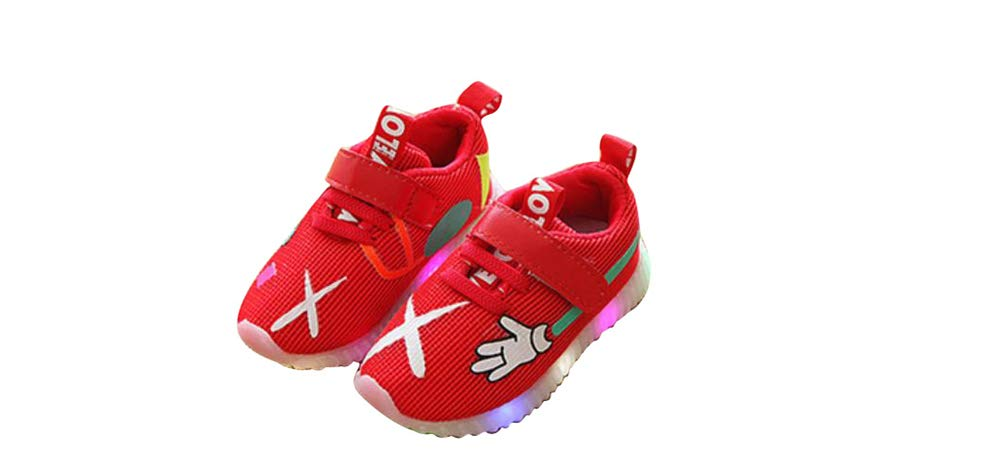 edv0d2v266 Toddler Kids Children Baby Striped Shoes LED Light up Luminous Sneakers(Red 23/6 M US Toddler)