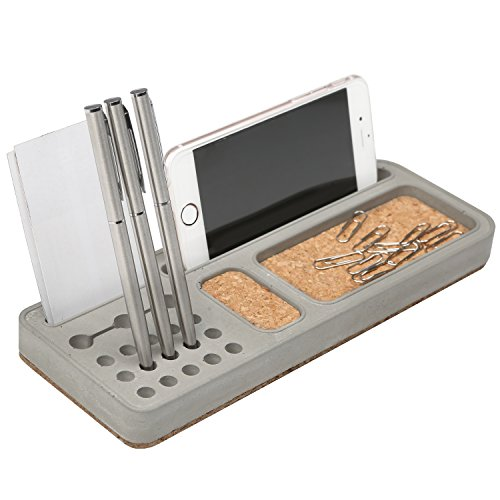 Desktop Clay & Cork Board Office Organizer for Pens, Business Card, Accessories & Smartphone