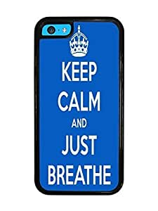 Keep Calm and Just Breathe Black Silicone Case for iPhone 5C