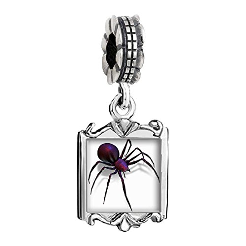 (GiftJewelryShop Halloween Black Widow Spider Photo Family Mom & Baby Girl & Dad Dangle Bead Charm)