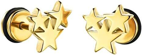Mens Womens Titanium Star Stud Earring
