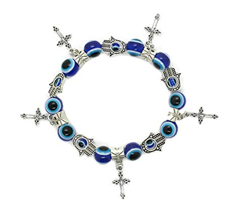 Lucky Beaded Lucky Evil Eye, Hamsa Hand and Cross Charm Stretch Bracelet for Protection and Blessing, Great Gift
