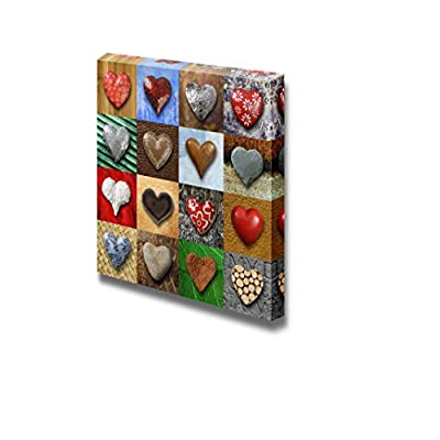 Canvas Prints Wall Art - Artistic Photo Collage of Heart-Shaped Stone | Modern Home Deoration/Wall Art Giclee Printing Wrapped Canvas Art Ready to Hang - 24