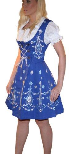 Dirndl Trachten Haus 3-piece Short German Wear Party Oktoberfest Waitress Dress 16 46 Blue by Dirndl Trachten Haus (Image #2)