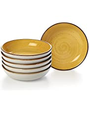 ONEMORE 8.5Inch Soup Bowl, Porcelain Couple Bowl Set of 6 outdoor tableware, wide and shallow Bowl for Salad Serving