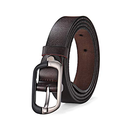 Ladies Leather Belt,Fashion Belt for Woman Vintage Leather Reversible Belt Pants Jeans Dresses Belt Plus Size 3XL (Dark Brown)