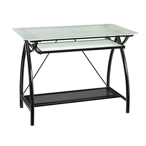 Office Star Office Star Newport Computer Desk with Frosted Tempered Glass Top, Pullout Keyboard Tray, and Black Powder Coated Steel Frame (Frosted Glass Top Table)