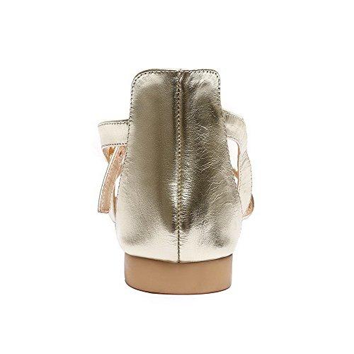AalarDom Womens Open-Toe Low-Heels PU Solid Sandals Gold jywqK