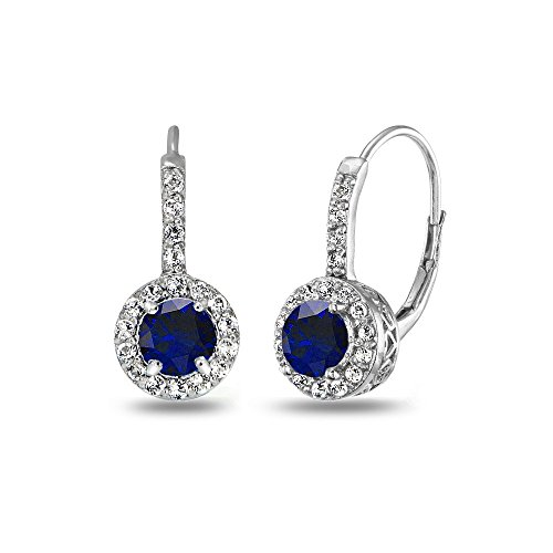Sterling Silver Created Blue Sapphire & White Topaz Round Halo Leverback Earrings