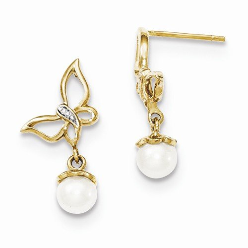 Solid 14k Yellow Gold Diamond and FW Cultured Pearl Butterfly Post Dangle Earrings (.01 cttw.) (20mm x 9mm)