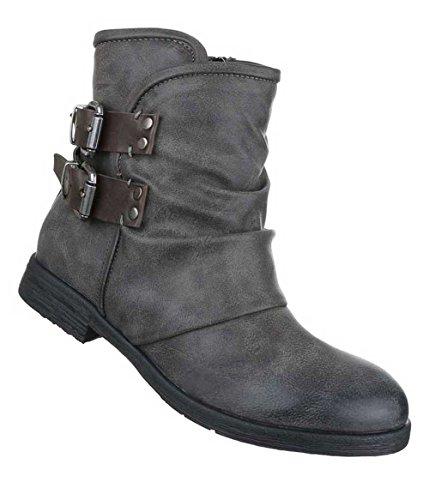 Damen Stiefeletten Schuhe Biker Boots Used Optik Schwarz Dunkelgrau