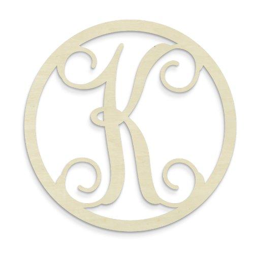 UNFINISHEDWOODCO Single Letter Circle Monogram-K, 19-Inch, Unfinished
