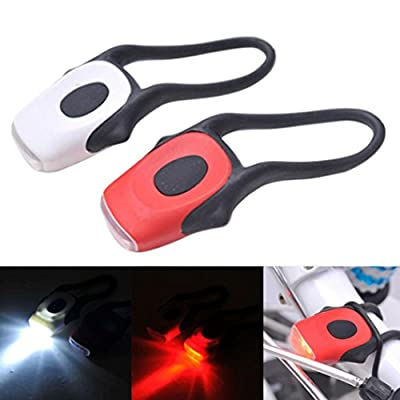 Ecosin Fashion Silicone Bike Bicycle Cycling Head Front Rear Tail LED Flash Light Lamp