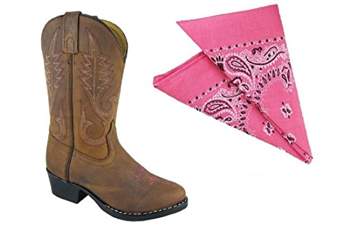 [Girl's Annie Distressed Brown Leather Cowgirl Boots w/Pink Bandana (9)] (Toddler Annie Costumes)