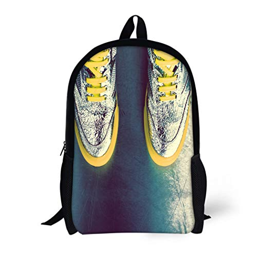 Pinbeam Backpack Travel Daypack Silver Pop Glamorous Gumshoes Yellow Culture Disco Hipster Waterproof School Bag