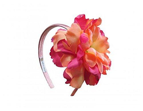 Jamie Rae Hats Candy Pink Hard Headband with Orange Raspberry Large Peony, One Size