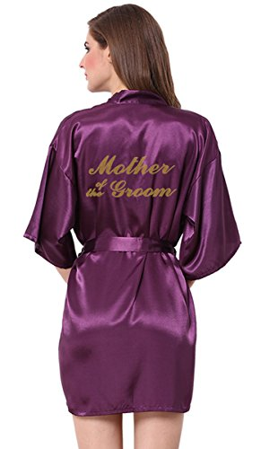 - JOYTTON Women's Wedding Party Satin Robe With Gold Glitter Mother Of The Groom