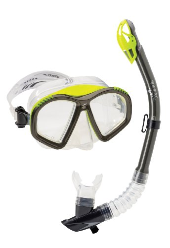 Speedo Hydroflight Mask/Dry Top Snorkel Set, Charcoal/UV Yellow, One Size