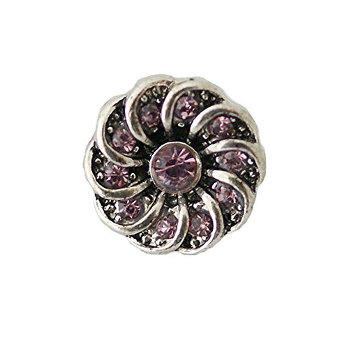 Chunk Snap Charm Purple Crystal Center and Swirl Border Petite 12mm, 1/2