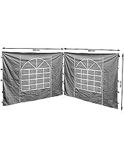 QUICK STAR 2 zijpanelen met PVC venster 300x195 cm voor paviljoen Sahara 3x3m zijwand grijs