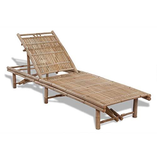 🥇 vidaXL Tumbona Ajustable de Jardín de Bambú Mueble Hamaca Lounger 3 Posiciones