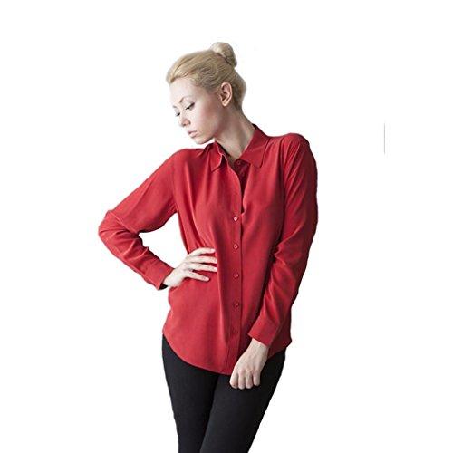 Vaughan Women's Hepburn Silk Blouse Long Sleeve Red Ladies Shirts - Love Affair - Size Large